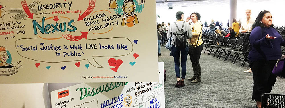 Graphic recording, Terry LaBan, Philadelphia area graphic recorder, Breakthrough Visuals, sketch notes, illustration, #RealCollege 2018